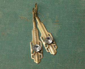 Art Deco earrings crystal diamond rhinestone golden brass vintage style 1920's great gatsby old Hollywood glamour gem flapper jazz age