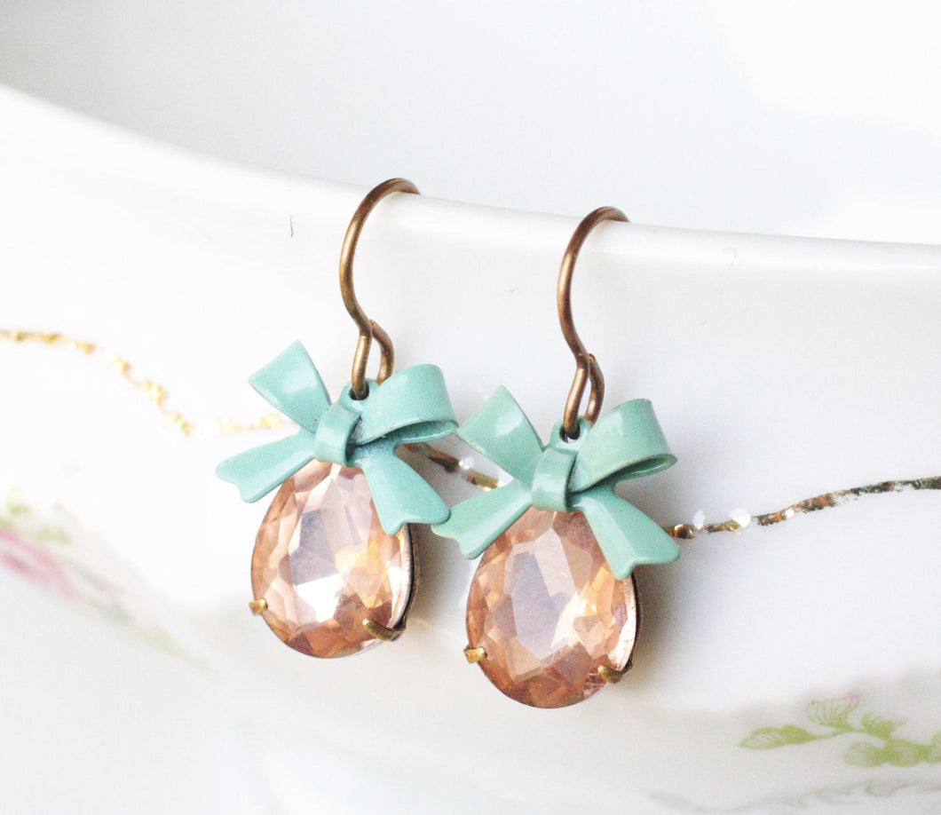 Crystal blush pink bow earrings dangle mint green bow pear jewel glass retro 50's glamour vintage brass rhinestone gem bridal bridesmaid