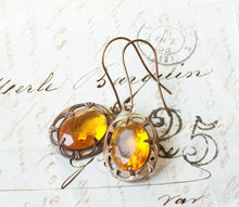 Load image into Gallery viewer, Citrine crystal earrings jewel vintage style glass jewel yellow oxidized brass glamour art nouveau dangle antique style topaz