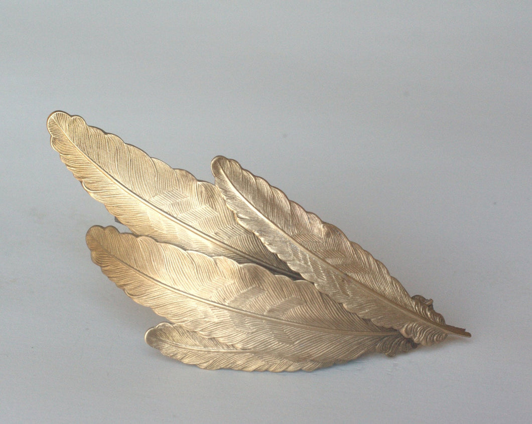 Feather hair clip brass barrette plume vintage style wedding hair accessory bridal large