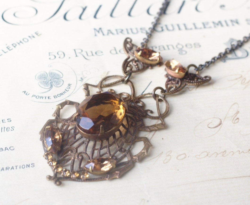 Art nouveau jewel necklace brass scarab crystal 1920's style flapper vintage style brown gem smoky topaz filigree