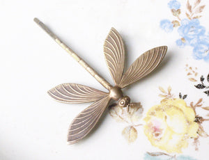 Dragonfly hair pin brass or silver 1920's art nouveau bridal bronze woodland