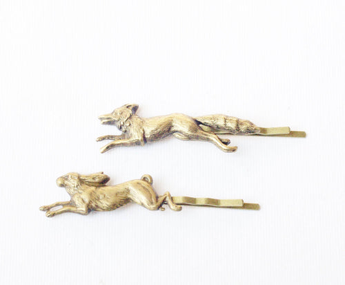 Fox & hare bobby pin set bronze woodland fauna brass hair slide hair pin retro hair accessory rabbit bunny spring animals