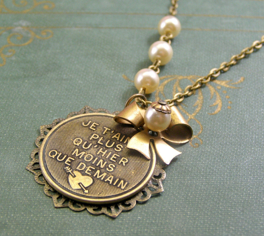 Love necklace French I love you je t'aime brass filigree pearl vintage style bow antique anniversary Valentine's Day gift for her