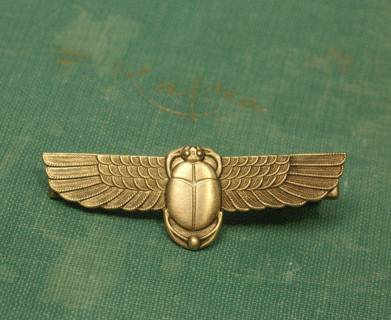 Scarab hair clip Egyptian revival art deco barrette antique brass retro bronze hair accessory