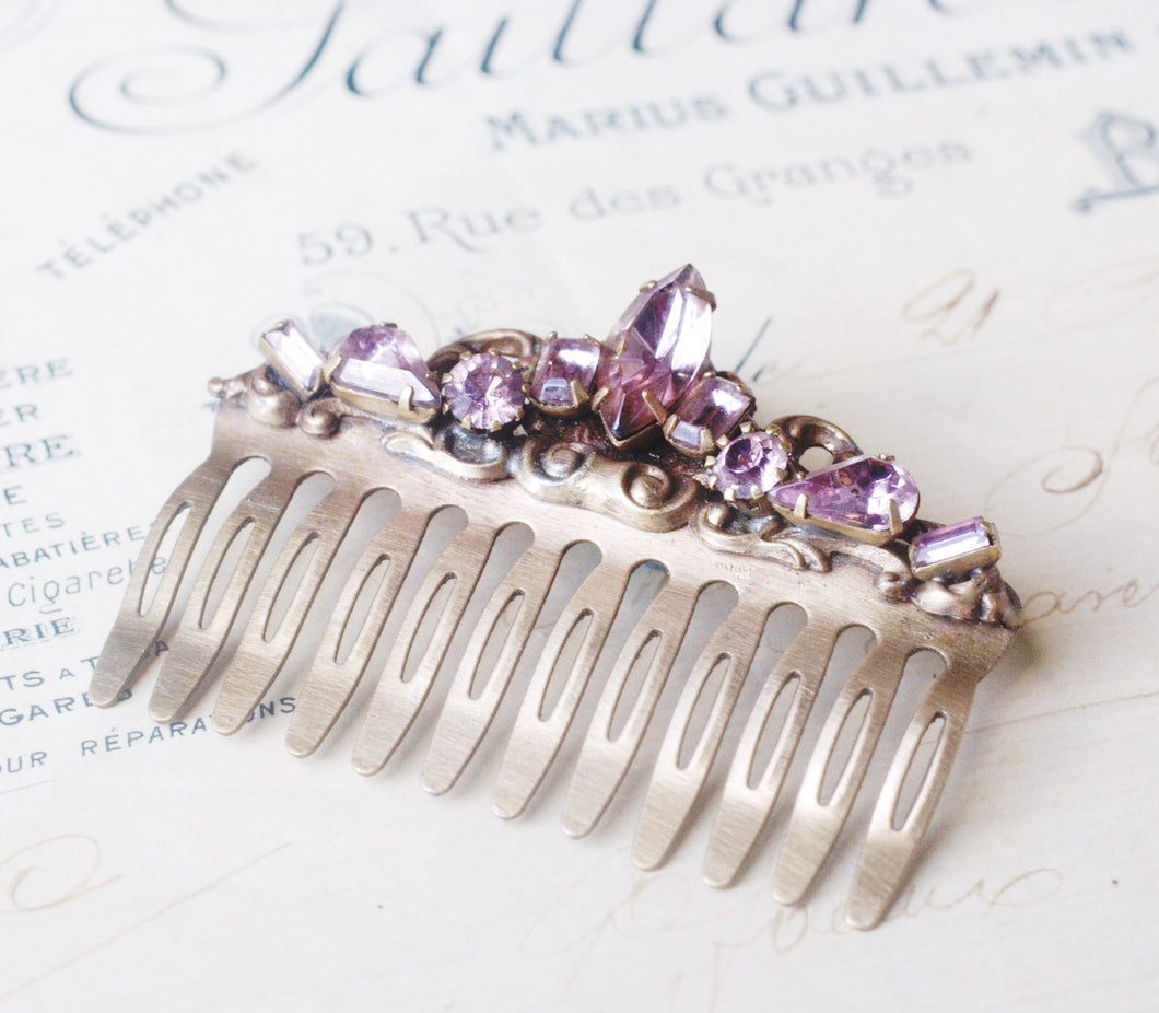 Crystal bridal light amethyst hair comb lavender antique victorian silver jewels purple  rhinestone vintage inspired wedding hair accessory