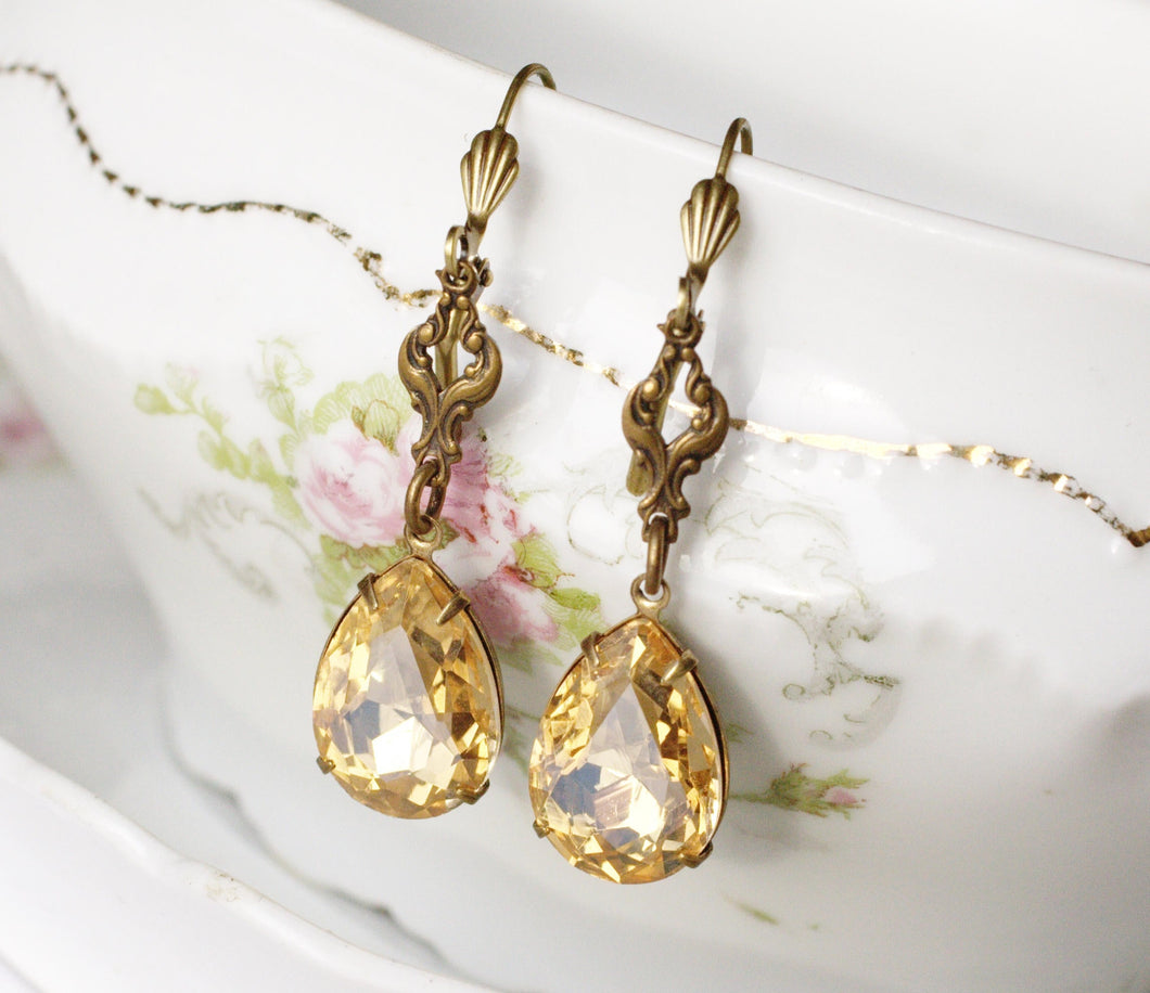 Champagne crystal dangle earrings pear brass filigree bridal earrings vintage style brass antique