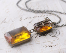 Load image into Gallery viewer, Gemstone necklace crystal art nouveau deco amber topaz victorian bronze vintage style jewel gem antique brass elegant bridal custom colors