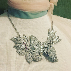 Crystal vintage necklace assemblage ruby butterfly floral wedding bridal jewelry collage rhinestone gem silver antique style one of a kind