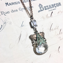 Load image into Gallery viewer, Belle epoque crystal necklace verdigris bridal Victorian vintage inspired brass jewel bronze ornate gem antique style crystal handmade