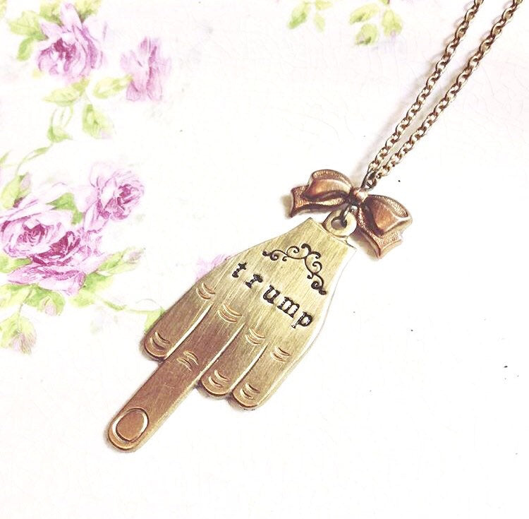 F*ck Trump necklace personalized brass middle finger vintage style retro hand stamped pendant custom