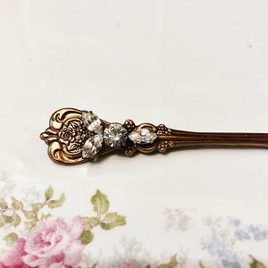 Bridal hair pin crystal antique brass bobby pin Victorian rhinestone slide handmade