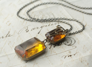Gemstone necklace crystal art nouveau deco amber topaz victorian bronze vintage style jewel gem antique brass elegant bridal custom colors