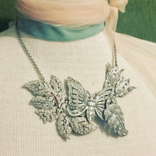 Load image into Gallery viewer, Crystal vintage necklace assemblage ruby butterfly floral wedding bridal jewelry collage rhinestone gem silver antique style one of a kind
