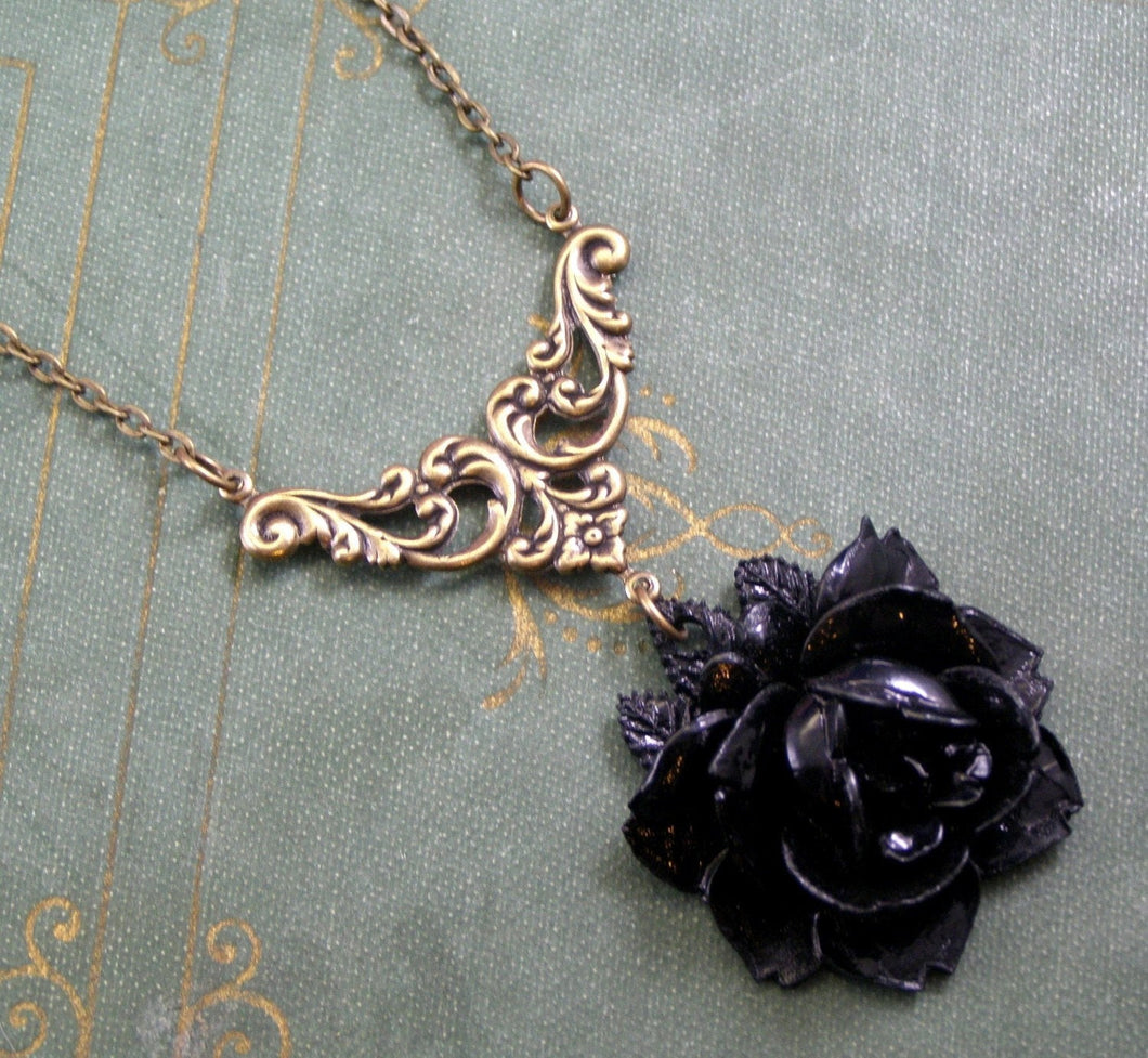 Black rose Victorian necklace vintage style brass gothic filigree mourning momento mori antique style