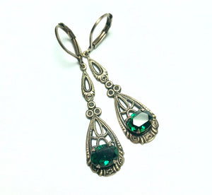 Art nouveau filigree earrings bridal crystal wedding 1920's dangle antique brass bronze jewel floral rhinestone gem vintage style emerald
