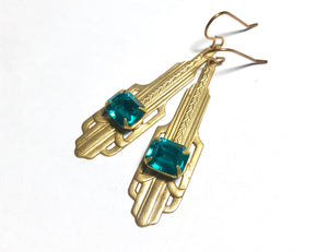 Art Deco earrings vintage crystal zircon teal 1930's style blue green golden brass dangle old hollywood flapper glamour custom colors bridal