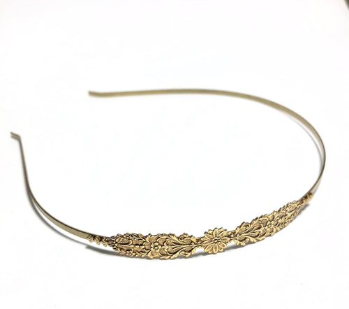 Victorian headband bridal bronze antique brass skinny wedding hair accessory classic bridesmaid