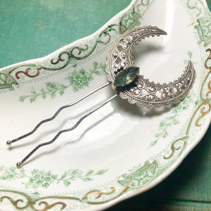 Art nouveau hair pin bridal crystal fork silver crescent moon filigree aqua rhinestone  wiccan