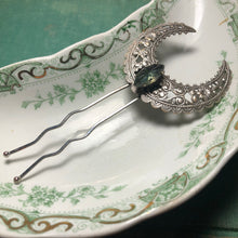 Load image into Gallery viewer, Art nouveau hair pin bridal crystal fork silver crescent moon filigree aqua rhinestone  wiccan