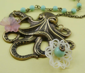 Octopus necklace brass pink flower cream filigree retro sweet beach mermaid style cruise pastel nautical jewelry