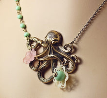 Load image into Gallery viewer, Octopus necklace brass pink flower cream filigree retro sweet beach mermaid style cruise pastel nautical jewelry
