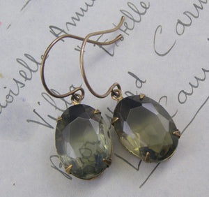 Grey jewel earrings dangle vintage crystal glass gray gem black diamond brass antique style Victorian