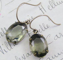 Load image into Gallery viewer, Grey jewel earrings dangle vintage crystal glass gray gem black diamond brass antique style Victorian