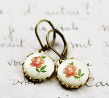 Load image into Gallery viewer, Vintage pink rose cameo earrings shabby and chic romantic petite dangle floral antique brass peach bridesmaid gift bridal gift mother