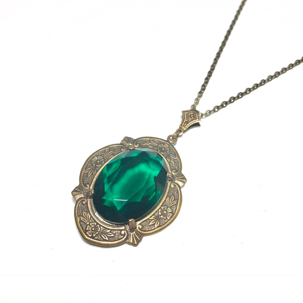 Emerald necklace vintage jewel victorian brass antique edwardian glamour crystal green gem bronze handmade may birthstone pendant