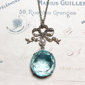 Regency necklace aquamarine blue bridal bow pearl jewel brass antique style crystal aqua