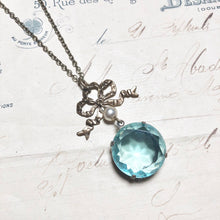 Load image into Gallery viewer, Regency necklace aquamarine blue bridal bow pearl jewel brass antique style crystal aqua