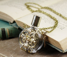 Load image into Gallery viewer, Perfume bottle bubble necklace love potion filigree long retro gold vintage style victorian retro skeleton key rose wiccan witch spell gift
