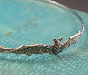 Bat headband vampire silver victorian gothic head piece Halloween hair accessory goth hairband witch