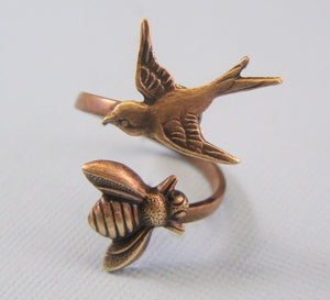 Bird and bee ring brass oxidized wrap adjustable retro lovers sparrow sex gift for her