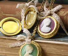 Load image into Gallery viewer, Pemberley locket cameo necklace lace bow vintage style brass victorian
