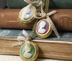 Pemberley locket cameo necklace lace bow vintage style brass victorian
