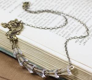 Bridal necklace crystal antique style rococo vintage inspired elegant brass wedding jewelry bronze beaded