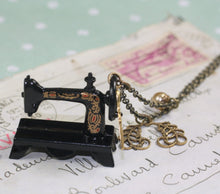 Load image into Gallery viewer, Sewing machine necklace brass seamstress victorian vintage style scissors