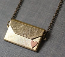 Load image into Gallery viewer, Envelope locket necklace I love you brass copper heart retro gift for her Valentines Day