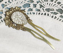 Load image into Gallery viewer, Art nouveau bridal hair comb fork pin jewel vintage brass floral clear emerald amethyst wedding hair accessory 1920's style