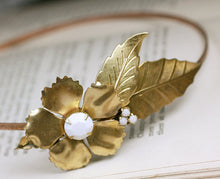 Load image into Gallery viewer, Brass flower headband white jewel vintage style bridal