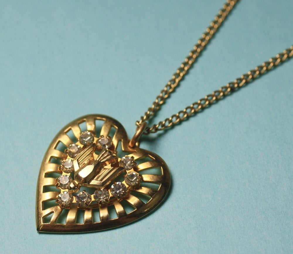 Bird heart necklace vintage rhinestone thunderbird Native American 70's style gold finish retro crystal pendant love gift for her