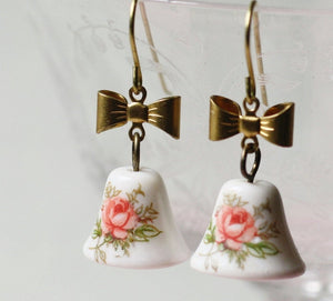 Pink rose earrings dangle vintage glass bell brass bow cottage chic romantic feminine retro floral