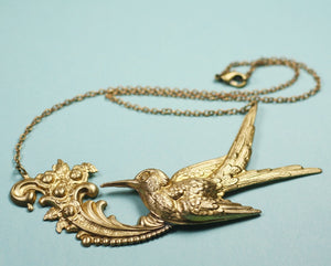 Bird necklace antique style brass french hummingbird glamour