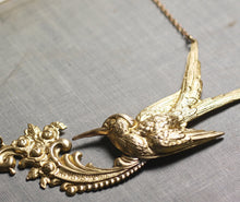 Load image into Gallery viewer, Bird necklace antique style brass french hummingbird glamour