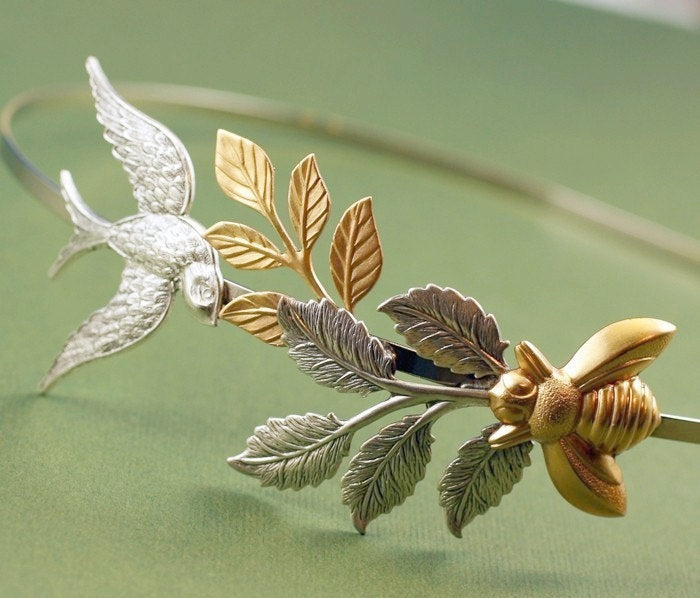Bird and bee bridal headband leaves head piece garden leaf goddess silver brass whimsical wedding