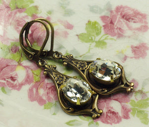 Art nouveau earrings bridal crystal brass 1920's antique bronze rhinestone