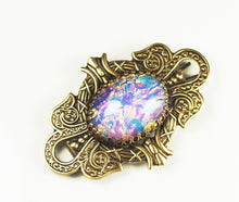 Load image into Gallery viewer, Victorian opal barrette hair clip filigree brass vintage glass bridal wedding hair jewelry