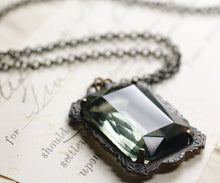 Load image into Gallery viewer, Noir crystal necklace grey goth Victorian gothic emerald ruby amethyst vintage style brass Witch